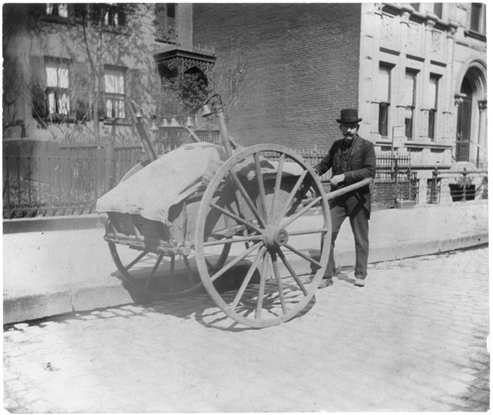 Street types of New York City: Peddler with cart, c. 1896. Photograph by Elizabeth Alice Austen.   Courtesy of the Library of Congress, www.loc.gov.