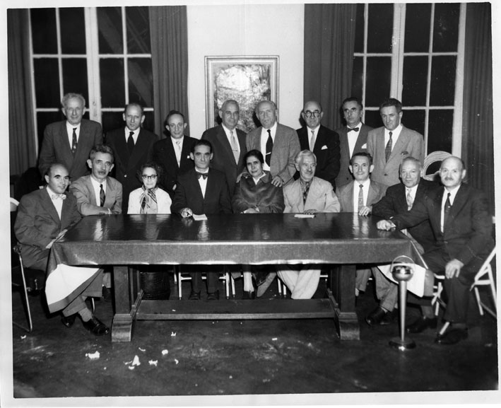 Committee of the Bund Organization in New York, 1950s. Emanuel Scherer is seated fourth from the left. Courtesy of YIVO Institute for Jewish Research.