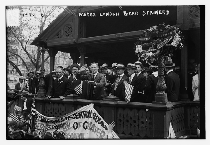 Meyer London and car strikers speaking to crowd from a balcony, July 15, 1916. Photograph published by Bain News Service. Courtesy of the Library of Congress, www.loc.gov.