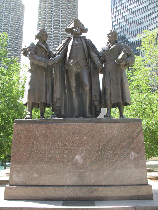 George Washington hand-in-hand with Haym Solomon and Robert Morris. Photo by Antonio Vernon; via Wikimedia Commons,