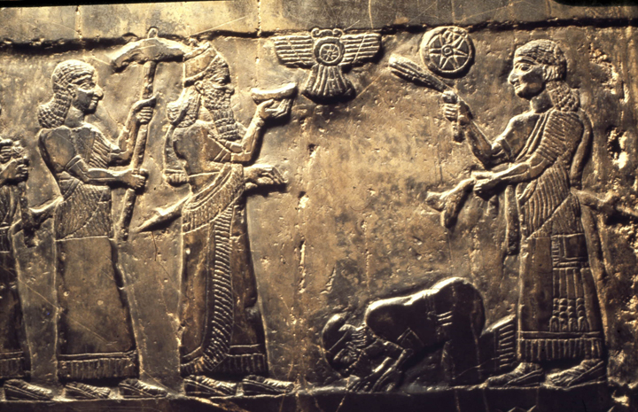 Detail from the Black Obelisk, 825 BC. © Trustees of the British Museum.