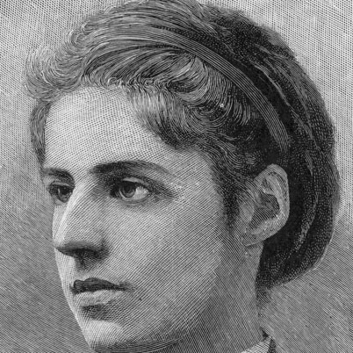 Emma Lazarus / engraved by T. Johnson; photographed by W. Kurtz. [Between 1878 and 1900]; via the Library of Congress.