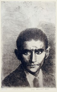 Etching of Franz Kafka by Jan Hladík, 1978.