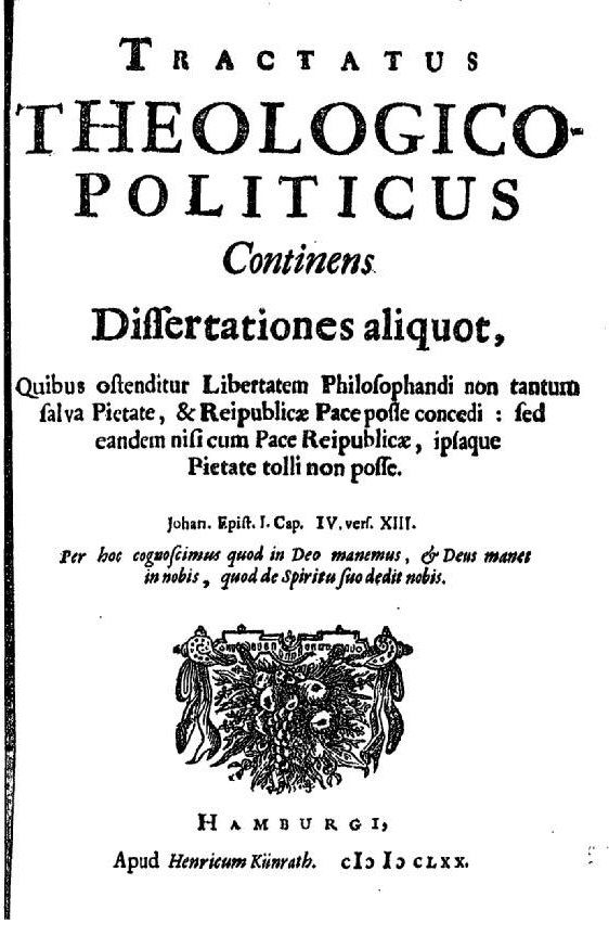 Title page of Baruch Spinoza's Tractatus Theologico-Politicus (1693)