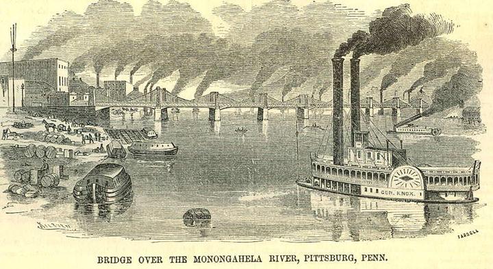 A River Scene: Monongahela River, Pittsburgh, Pennsylvania