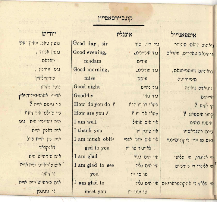 """Conversational phrases in Ladino, English, English transliterated into rashi script, and Yuddish"" [sic] from Livro de Embezar (New York, 1916), Ladino-English-Yiddish guidebook for Sephardic Jewish immigrants in America. Courtesy of the Sephardic Studies collection, University of Washington."