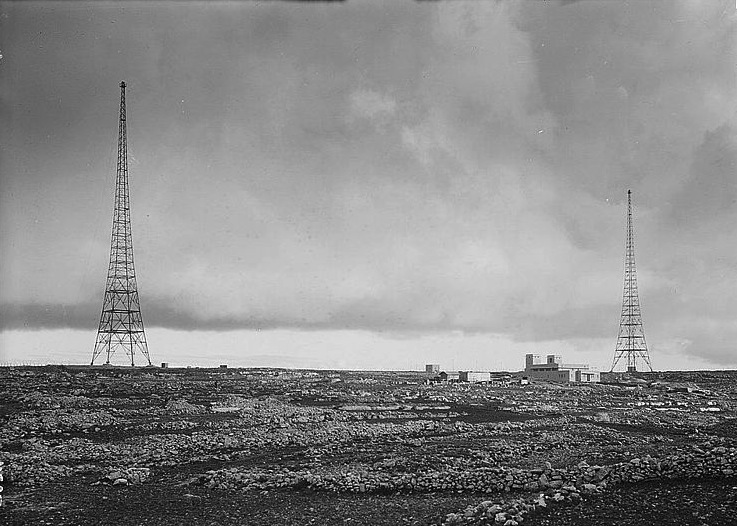 Palestine Broadcasting Authority towers at Ramallah during the late 1930s. Photo credit: The American Colony Photo Department in Jerusalem, via 972 Magazine.