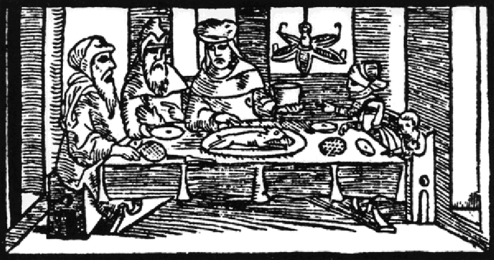 Woodcut print depicting medieval Jewish family at the seder table, from Prague Haggadah  (Prague, Gronem and Gershom ben Solomon Ha-Cohen, 1526).