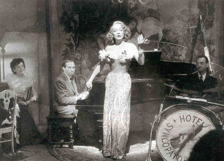 Friedrich Holländer and Marlene Dietrich on the Lorelei stage in Billy Wilder's A Foreign Affair (1948).