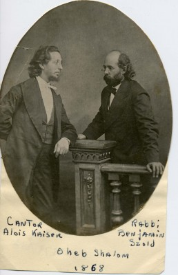 Cantor Alois Kaiser and Rabbi Benjamin Szold at the Oheb Shalom Synagogue in 1868. Courtesy of The Jewish Museum of Maryland, 1989.079.074.