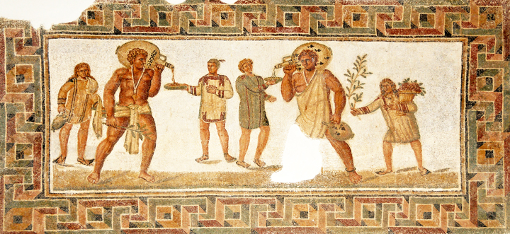 Roman mosaic from Douga, Tunesia (2nd century, CE) showing slaves with wine jars. Photo by Dennis Jarvis, 2012; via Flickr Commons.