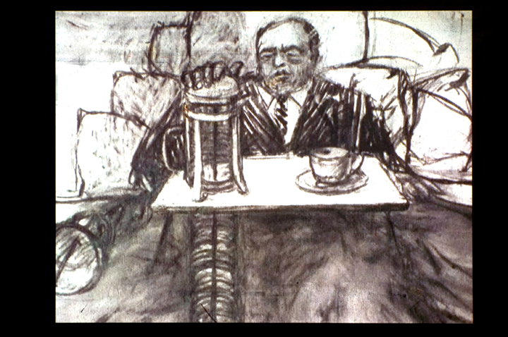William Kentridge. Video still from Mine, 1991. 16mm film transferred to video. 5 minutes,  49 seconds. Courtesy of the artist and Marian Goodman Gallery, New York/Paris.