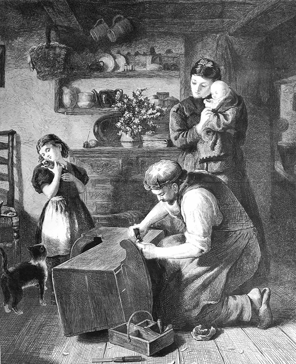 """Mending Old Cradle Family Home Cat Kitten Stocks"" by A. Stocks from Illustrated London, 1873."