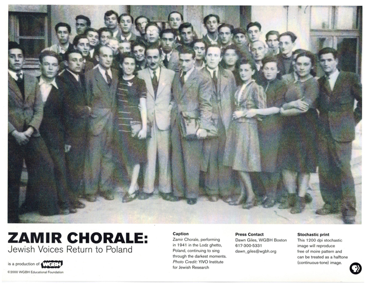 Zamir Chorale in Lódz ghetto, 1941. Courtesy of Joshua Jacobson.