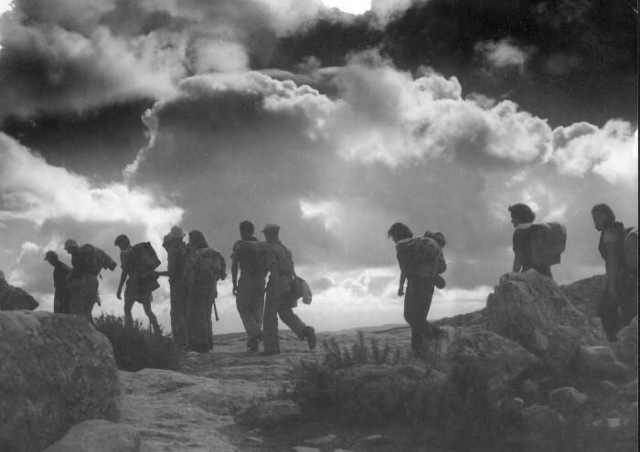 Hiker-fighters of the Palmach on a masa, or long-distance trek, across the Judean Desert in the 1940s. Courtesy of the Palmach Photo Gallery.