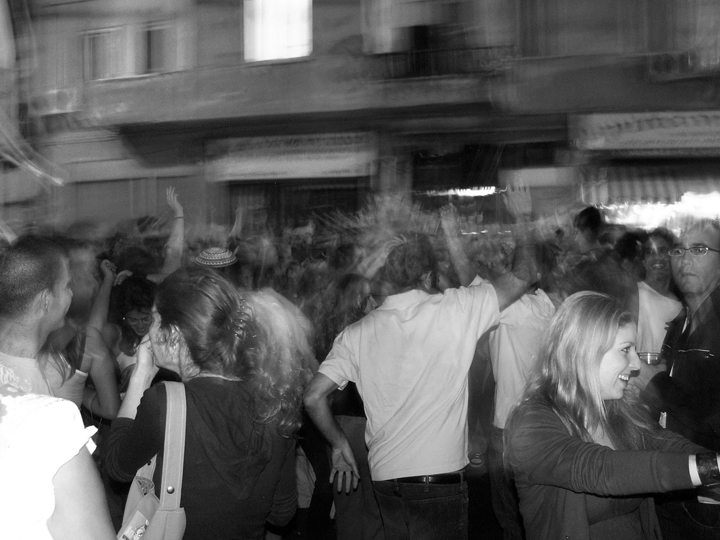 Rave in Florentine, Tel Aviv, 2008, by Jonathan  Klinger, licensed under Creative Commons Attribution 2.0 Generic license.