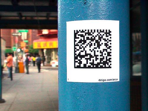 Semacode eruv markers/NYC, 2005; www.dziga.com/eruv. Photo credit: Elliott Malkin.