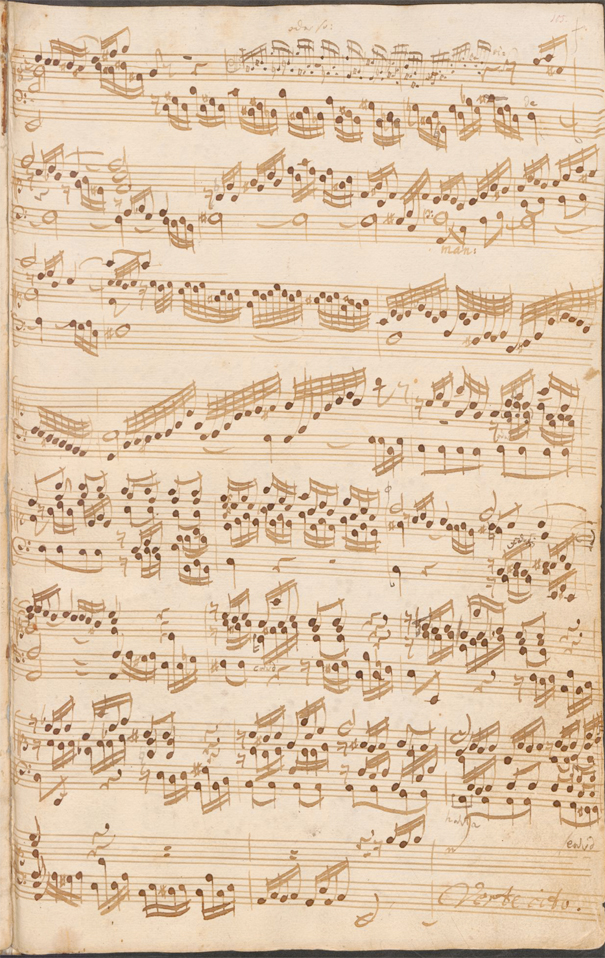 Folio from Johann Sebastian Bach, Prelude and Fugue in A Minor (J.P. Kellner, scribe. Berlin, 1725). D-B Mus. ms. Bach P 288, Faszikel 13, Staatsbibliothek zu Berlin – Preußischer Kulturbesitz, via Bach Digital. CC BY-NC 4.0.