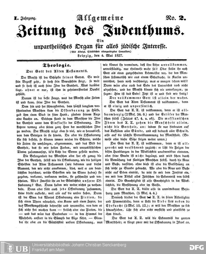 Cover of the newspaper <em>Allgemeine Zeitung des Judentums</em> featuring the serialized Philippson novella <em>Die Marannen</em>. Reproduced from the Visual Library of the Goethe Universistät, Frankfurt am Main.